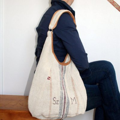 Caramel Monogramed Stripe - Classic Antique Linen Bag