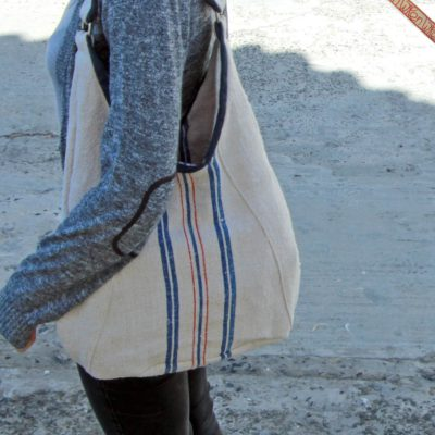 Red and Blue Classic Linen Bag 3