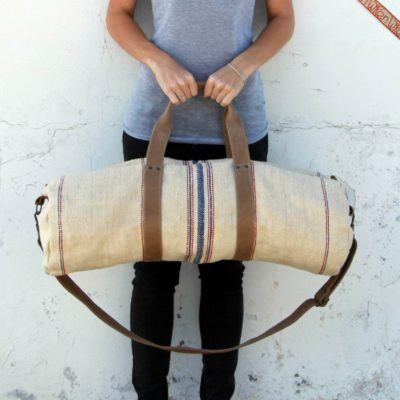 Red and Blue Linen Yoga Bag 1