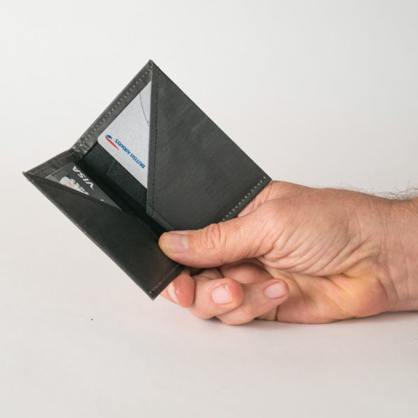 Wren Black Slim Wallet Open in hand lres
